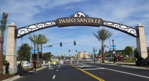 New arch up at Paseo Santa Fe in Vista