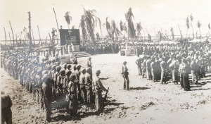 American soldiers stand at attention after capturing the island of Gavutu in the south Pacific during World War II.  Courtesy photo