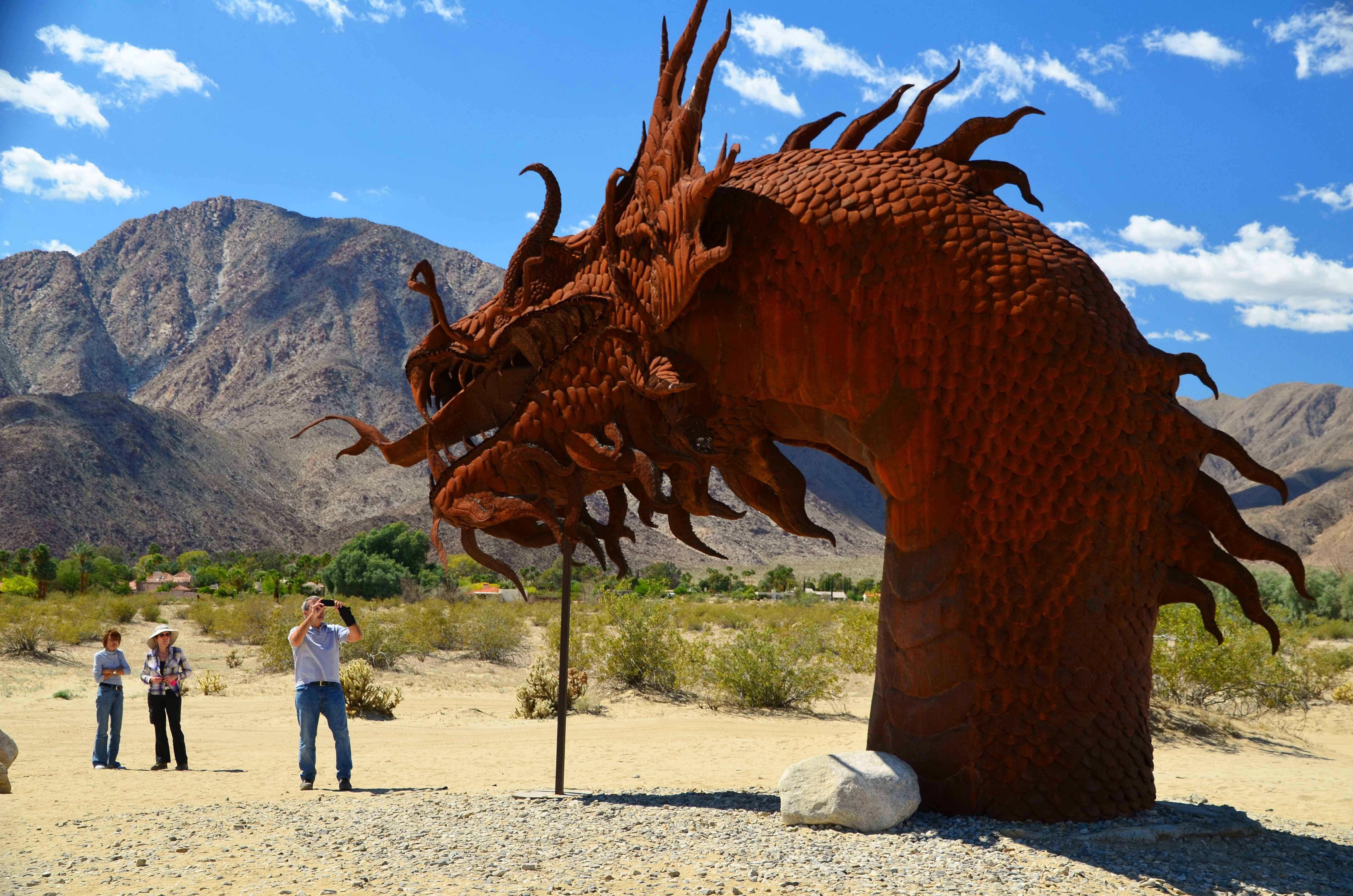 Visitors to the Borrego Springs area marvel at one section of a metal-sculpture serpent that stretches all the way across Borrego Springs Road.