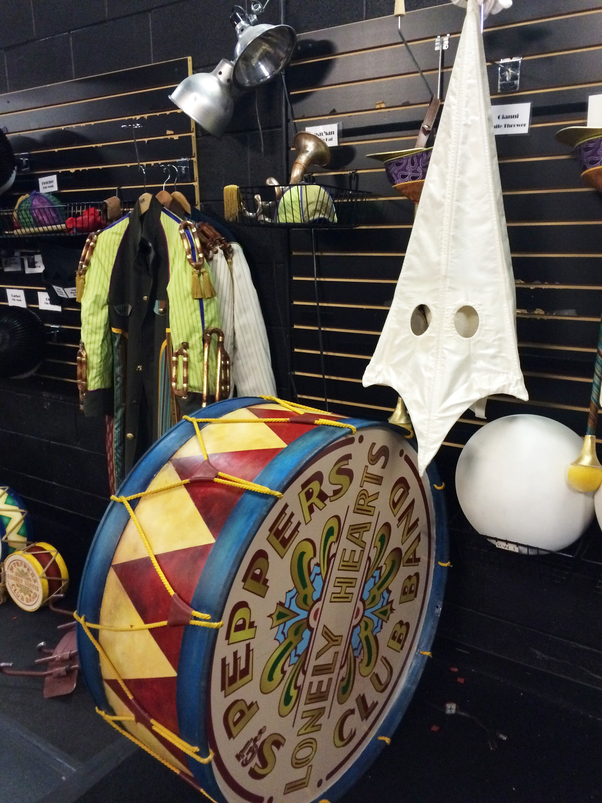 "Props from ""The Beatles LOVE by Cirque du Soleil"" are stored backstage at the theater in the Mirage Hotel & Casino. Yes, that's a KKK hood, used in a segment of the show that addresses racism. The show celebrates its 10th anniversary this summer. Since its conception, sound and light technologies have evolved enough that the producers of ""LOVE"" recently gave it a technical and artistic makeover.  The theater has installed new equipment, and reworked the music and stunning acrobatic presentations. ""LOVE"" is staged in-the-round, so no one in the audience is more than 100 feet from the action. Photo by E'louise Ondash"