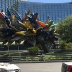 """This sculpture, an amazing collection of multi-colored canoes titled """"Big Edge,"""" was assembled and connected with piano wire as the artist, Nancy Rubins, directed the crew. She decided how to place the boats as she went. Rubins is known for creating works from salvaged industrial and consumer goods. """"Big Edge"""" is one of many pieces that belong to the $40 million art collection assembled by MGM Resorts International. The works can be found in and around the Aria Resort & Casino, Vdara Hotel & Spa, the Mandarin Oriental Hotel, The Shops at Crystals and Veer Towers. The works make up one of the world's """"largest and most ambitious corporate collections"""" and """"the first major permanent collection to be integrated into a public space,"""" according to MGM. You can see the entire collection for free. Pick up a guide at Aria's concierge desk or its spa, or download the Fine Art Collection app at https://www.mgmresorts.com/mobile/ccfa.aspx"""