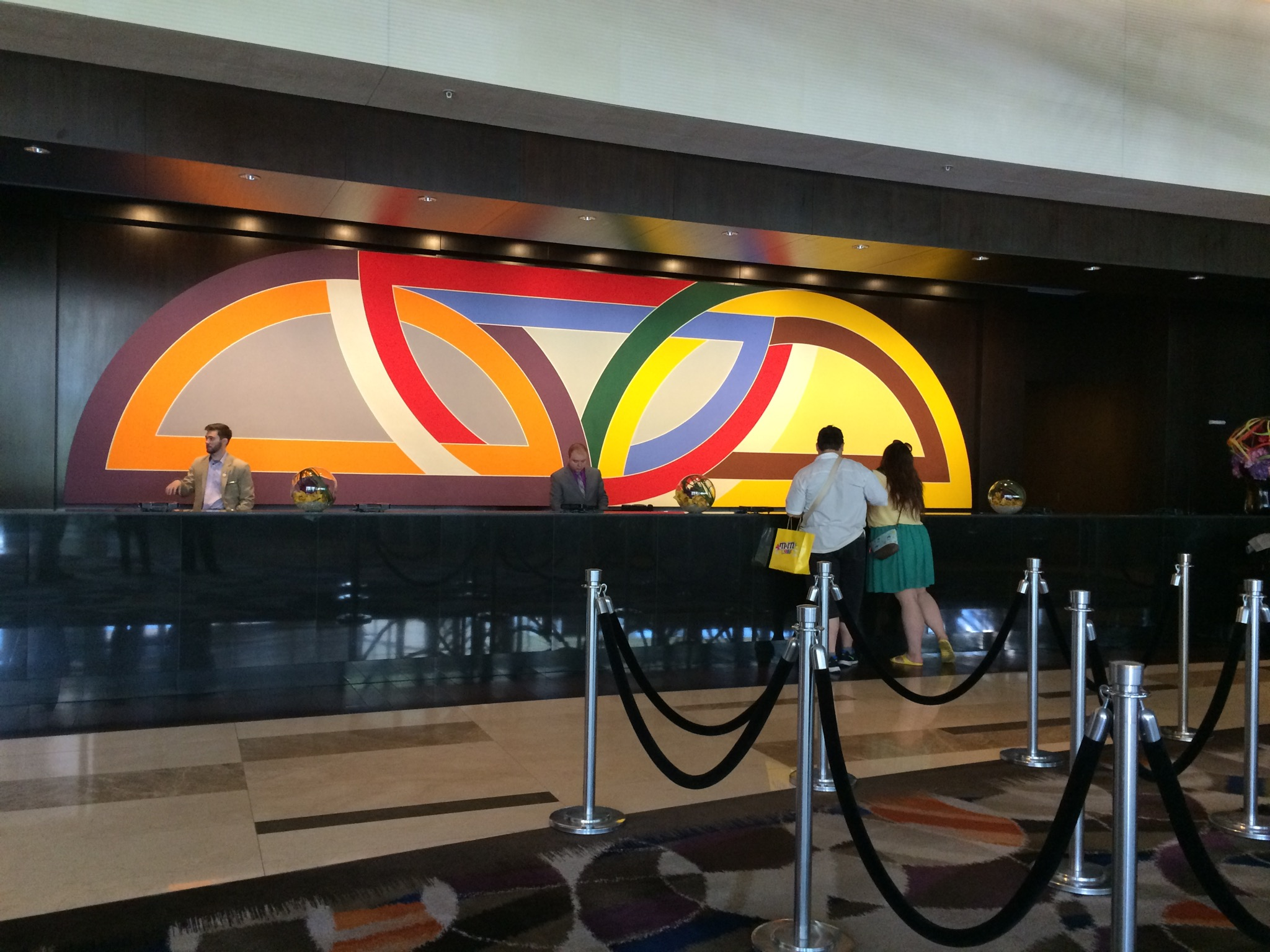 This vibrant work by Frank Stella dominates the front desk in the Vdara Hotel lobby (a non-gambling, non-smoking hotel). The space was constructed to accommodate the canvas. Stella, 80, is a popular, well-known artist who lives and still works in New York. Photo by E'louise Ondash