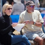 Beth Bindert and Rick Johnson both of Encinitas take time out from the celebration as the San Dieguito Heritage Museum hosted their Deep Pit BBQ last Saturday afternoon. Photo by Pat Cubel