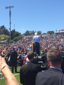 """I hope that all Americans and certainly every Democrat takes a hard look at which Democratic candidate is the strongest candidate to make sure Trump does not get elected,"" says Bernie Sanders during his speech in Vista on Sunday. Photo by Aaron Burgin"