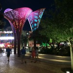 "At night, the ""tulip"" shade structures take on a dramatic flair of light and color. Each structure has a distinct cut-out pattern and the color of the lights rotates every few minutes."