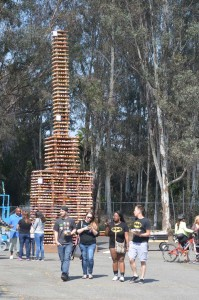 A cupcake tower that measures more than 30-feet tall stands filled with 25,000 cupcakes in Escondido. Photo by Tony Cagala