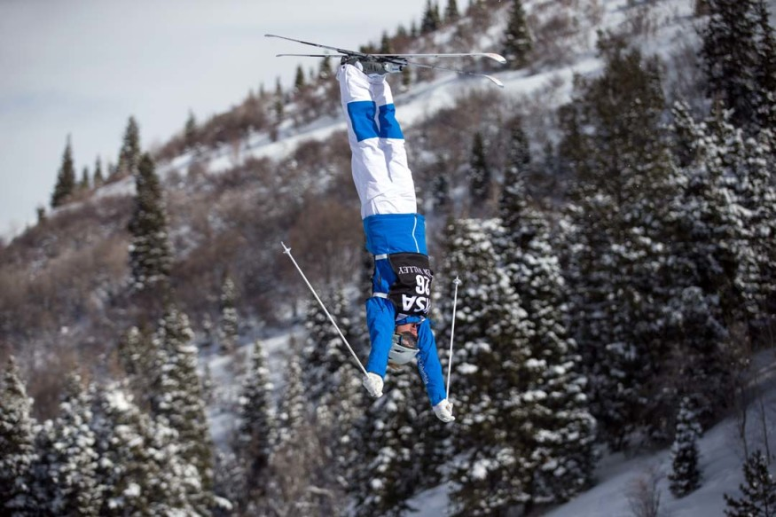 """""""Making the U.S. Freestyle Ski Team has been a vital accomplishment in my skiing career thus far,"""" says Olivia Giaccio, 15. Giacco is pictured skiing in the FIS Freestyle Ski World Cup event on Feb. 4 at Deer Valley Resort in Utah. Photo by Steven Earl"""