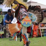 Dancer Jason Vela competes in the chicken dance. Dance competitions are held during the 20th annual powwow weekend in Oceanside. Photo by Promise Yee
