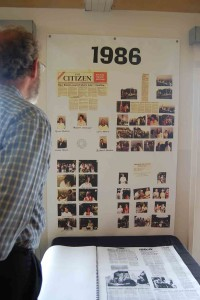 Richard Hendlin, a founding City Council member, looks over 1986 newspaper clippings announcing the successfully cityhood drive of Solana Beach.