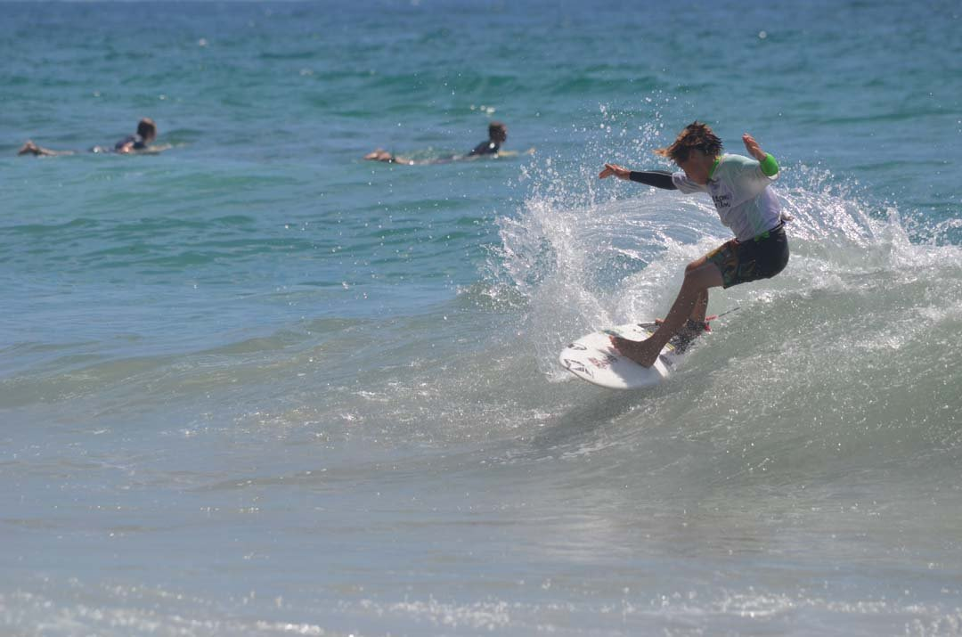 Levi Slawson competes in the finals of the Rob Machado Bro Junior surf contest on Saturday. Photo by Tony Cagala