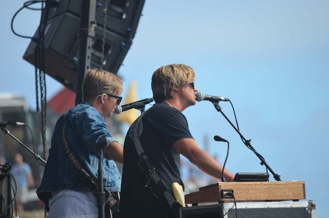 Brothers Jon, left, and Tim Foreman of Switchfoot perform at their annual BroAm event on Saturday. Photo by Tony Cagala