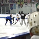 Hockey players scrimmage during try outs for the San Diego Sabers. Photo by Tony Cagala
