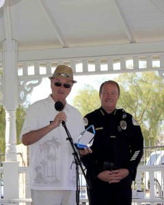 Oceanside Mayor Jim Wood and Police Chief Frank McCoy share appreciation for police service and community support. The event was held at Heritage Park.