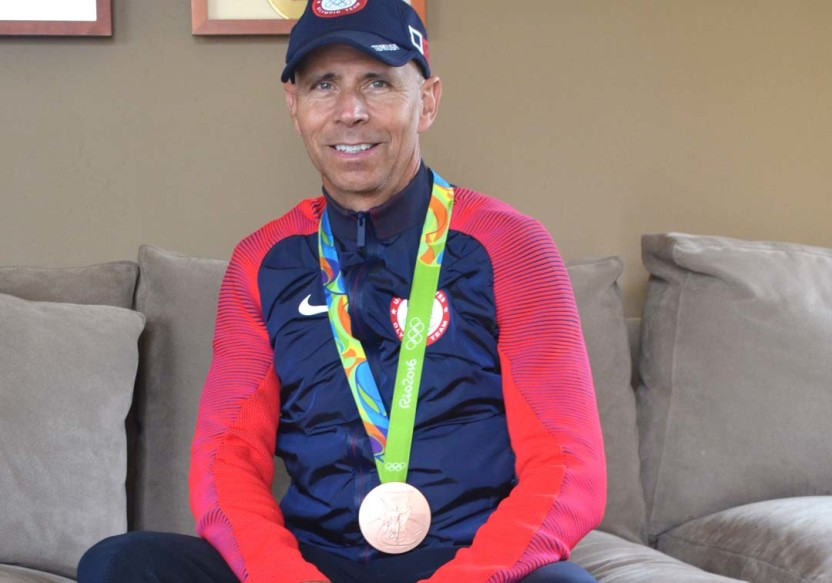 Team USA dressage rider Steffen Peters at his home in Carmel Valley where he keeps his medals, including his most recent, a Bronze medal from the Rio Olympics.  Photo by Tony Cagala