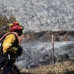 A Carlsbad firefighter looks for hot spots to spray down with a hose. Photo by Tony Cagala