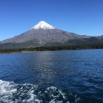 Glacier-covered Volcan Osorno, 8,701 feet high, towers above all in the Lake Region in the southern third of Chile. The volcano stands between two lakes, Todos Los Santos and Llanquihue, and is understandably compared to Mount Fuji in Japan. Photo by Kitty Morse