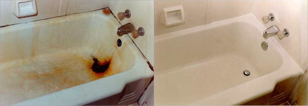 A tub refinishing job like the one done by NuFinishPro.com, shown above, costs about $450, and can be just as effective as replacing the tub altogether but is a less expensive and easier way. Courtesy photo