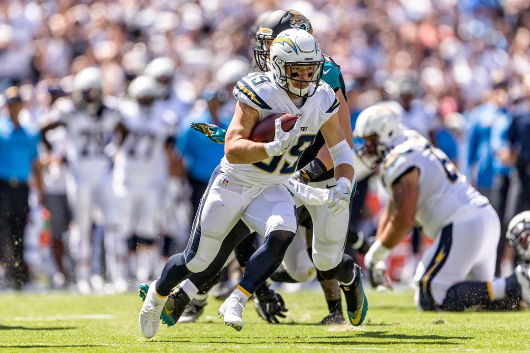 San Diego Chargers running back Danny Woodhead (39) runs the ball during the Chargers home opener against the Jacksonville Jaguars. Photo by Bill Reilly