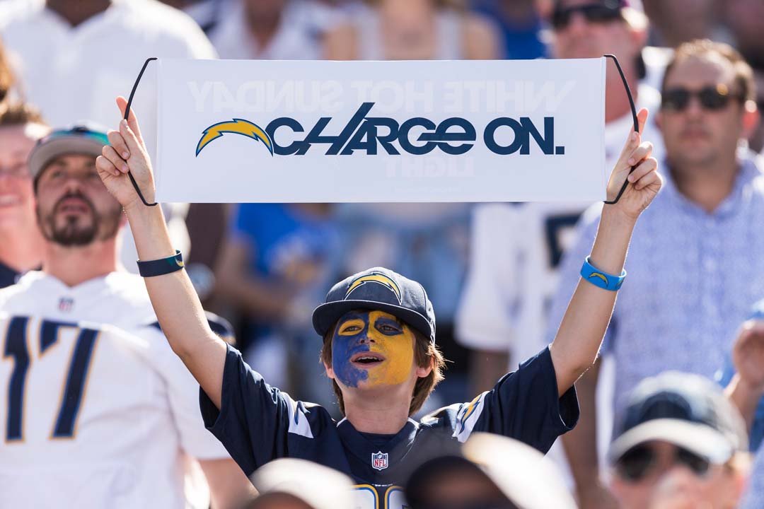 San Diego Chargers fans support their team during the home opener. Photo by Bill Reilly