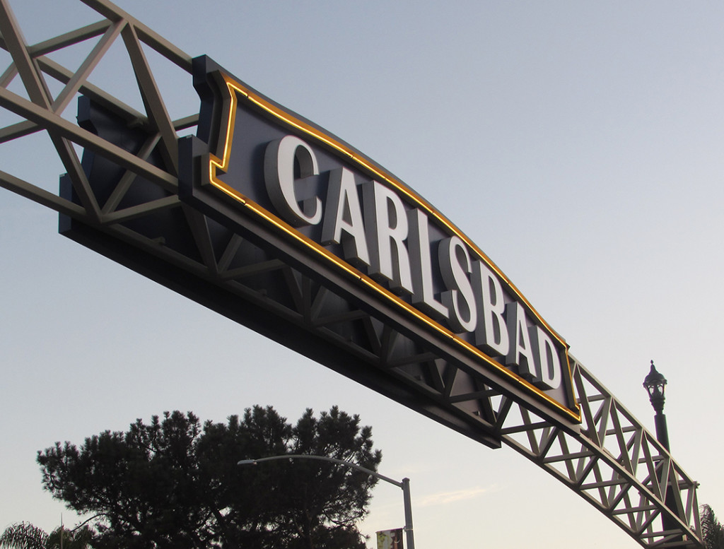 The Carlsbad sign will be continuously lit after Carlton Lund and residents donated money to keep the lights on in perpetuity at a ceremony last week. Photo by Steve Puterski