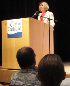 Lorraine Wood, deputy mayor of Carlsbad, speaks about educational partnerships on Monday during the annual State of the City at the Ruby G. Schulman Auditorium at the Dove Library. Photo by Steve Puterski