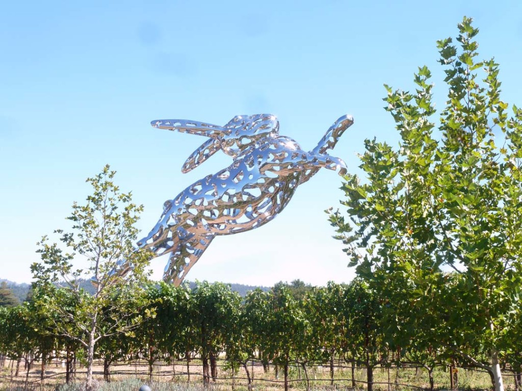 "The iconic 35-foot ""Bunny Foo Foo"" sculpture seems to be jumping over the vines, attracting visitors on Highway 29 to the Hall Winery in Napa Valley. Photo by Frank Mangio"