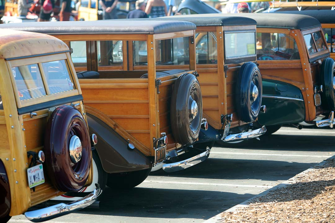 Last year's event at Moonlight Beach drew more than 300 woodies, or wood-paneled cars. File photo