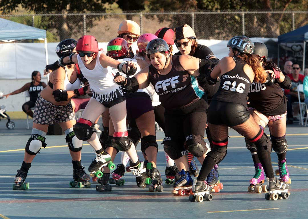 Oceanside's Martin Luther King Jr. Park played host to the Hidden City Derby Girls all  female roller derby league's double header Saturday night.  The event was a double header that opened with the HCDG Knockouts against their  sister team the Sugar Rays and the main event  HCDG Beachside Bullies battled it out with the SoCal Derby Cuttlefish.