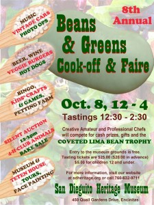 The 8th annual Beans & Greens Cook-off & Faire happening Oct. 8 celebrates that rich history with a fun, family friendly festival at the San Dieguito Heritage Museum. Courtesy image