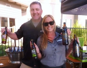Lane Thompson, Stone Brewing sales rep and Jillian Holmes, Chandler's Restaurant bartender, at the Cape Rey End of Summer Celebration. Photo by Frank Mangio