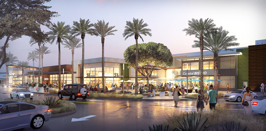 A rendering from Rouse Properties shows a view from ground level of The Shoppes at Carlsbad after renovations are completed in fall 2017. Courtesy image