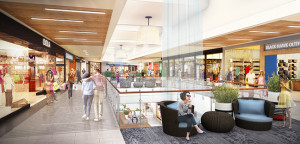 A rendering shows interior renovations at The Shoppes at Carlsbad. Courtesy image