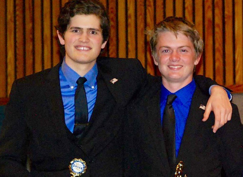 Carlsbad High School speech and debate team members Alex De Taboada, left, and Chad Hamner will moderate a public forum for the city council candidates Oct. 27 at the Pilgrim United Church of Christ, 2020 Chestnut Ave. Courtesy photo