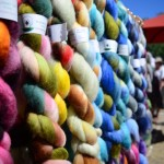 Handspun yarns from Irvine-based Blarney Yarn adorn a vendor booth. Photo by Tony Cagala