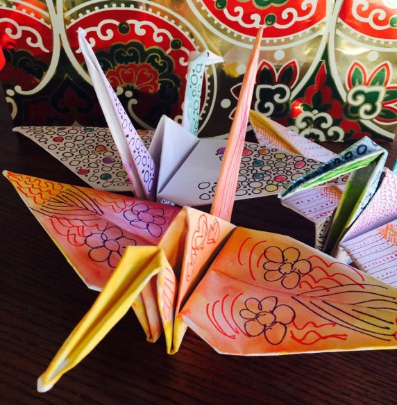Art Beat on Main Street, an art gallery in Vista, will be sending origami cranes like the ones pictured to San Francisco where they will help decorate the 11th annual World Tree of Hope.  Photo courtesy Art Beat on Main Street