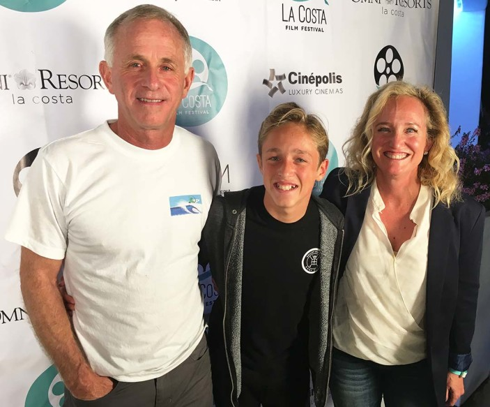 Tommy Kelly, 13, center, and his parents Jim, left, and Lisa, celebrate their son winning the Reel Pitch competition on Saturday at the La Costa Film Festival at the Omni La Costa Resort in Carlsbad. Photo by Steve Puterski