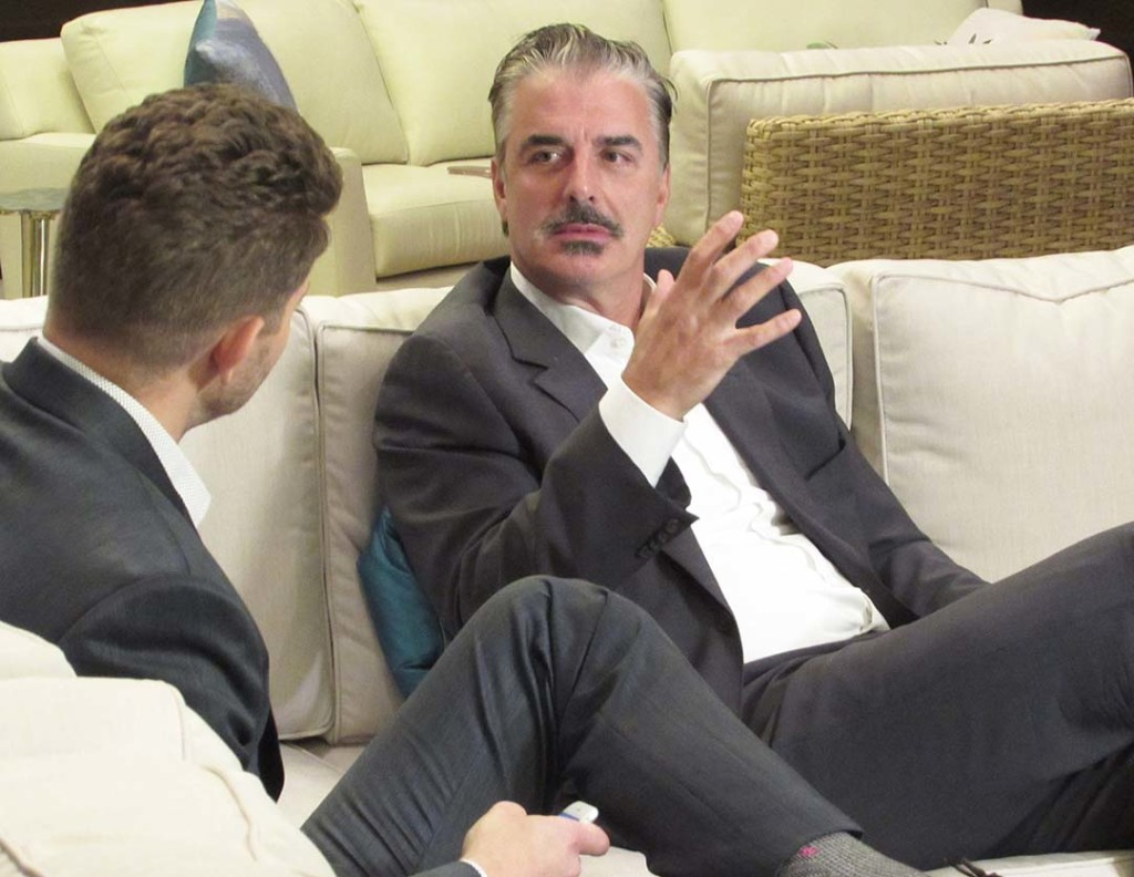 Actor Chris Noth gives an interview before his question-and-answer session where he was honored with the Shining Star Award last week at the La Costa Film Festival at the Omni La Costa Resort in Carlsbad. Photo by Steve Puterski