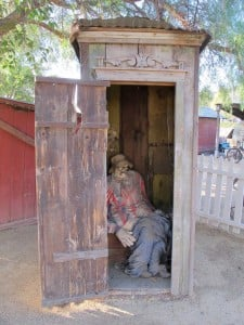 This outhouse, which sits on the back lot of the Hotel Temecula, reminds us that indoor plumbing was unknown in these parts in the early 20th century.  Photo by Laurie Brindle