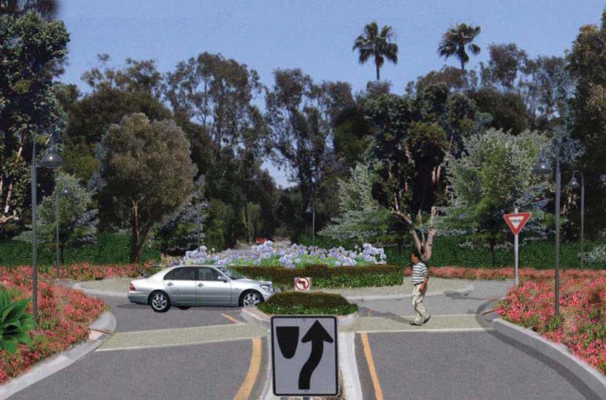A rendering shows what one of the roundabouts could look like. The county is beginning the search for funding to construct three roundabouts along a stretch of Del Dios Highway.  Rendering courtesy the County of San Diego