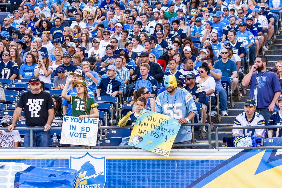 San Diego Chargers fans cheer as the team scores another touchdown. Photo by Bill Reilly