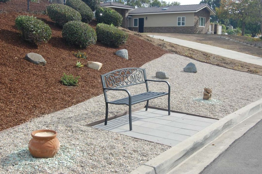 "Pat Feldman added a ""porch"" to the area in front of her Solana Beach home to encourage neighbors to sit, chat and get to know one another better. Photo by Bianca Kaplanek"