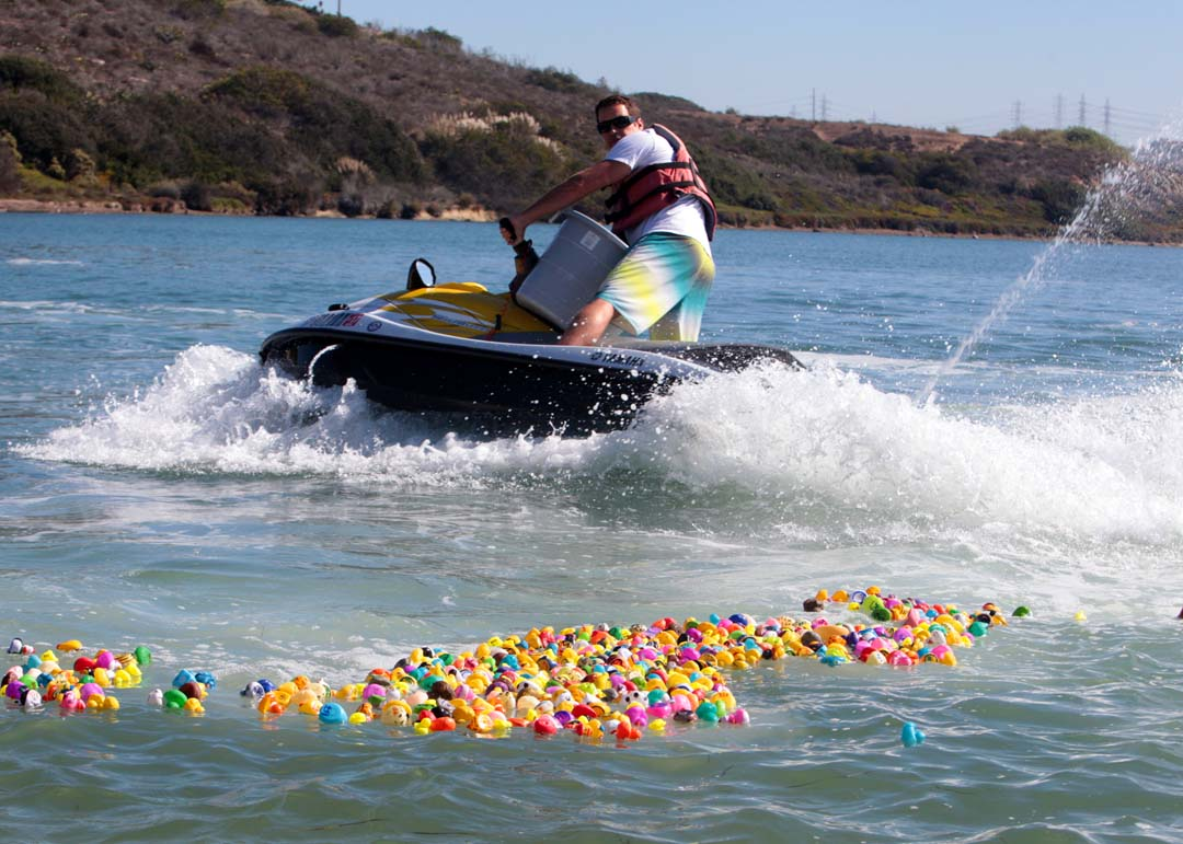 California Water Sports  hosted their 2nd annual Rubber Ducky Derby last Saturday at Carlsbad's Agua Hedionda Lagoon.  With calm water on beautiful day to celebrate lagoon life, jet skis were used to create waves and push the ducks towards the shore. Photo by Pat Cubel