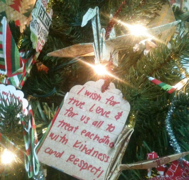 "One of the many crane ornaments appears on the Merry Tree of Wishes at Lush Coffee & Tea Lounge in Vista. It's an art project from the anonymous ""Origami Guy"" in Vista, which allows people to write a wish on an origami crane and hang it on the tree.              Courtesy photo"