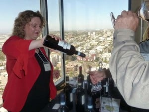Michela Fiorucci, brand manager of Tenute Silvio Nardi pours its 2010 Brunello di Montalcino, with velvety tannins and smoothly persistent notes of red berries and high mineral concentration. Photo by Frank Mangio