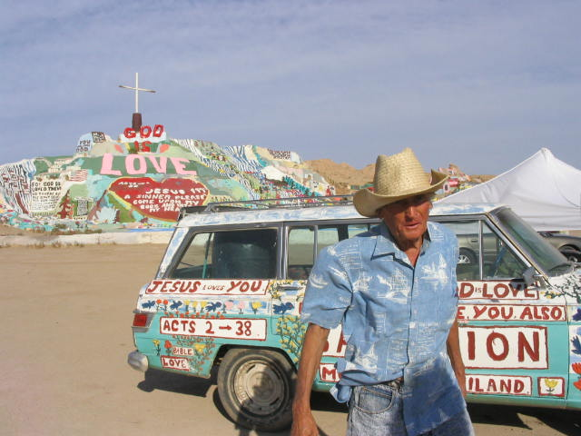 """""""Atlas Obscura"""" gives slight mention to Salvation Mountain, five miles east of Niland, Calif. Leonard Knight, a focused man of simple faith, transformed a portion of the Chocolate Mountains into a monument to his love for Jesus. Before Knight died in 2014, thousands visited the Technicolor hills, his multicolored motor vehicles and architecturally unique ancillary buildings. (Think domed rooms constructed of discarded car doors and tree limbs.) A volunteer group currently is watching over the mountain."""