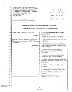 Lawsuit filed by Noel Buckhanon against the North County Transit District.