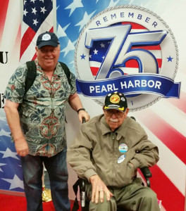 Dave and Art Smith of San Marcos, a World War II veteran, took part in last week's 75th anniversary of the Peal Harbor attack in Hawaii. Courtesy photo