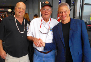 Scott Travis, left, Walt Travis of Carlsbad, middle, and actor Gary Sinise share a handshake during the days long commemoration of 75th anniversary of the Peal Harbor attack in Hawaii last week. Courtesy photo