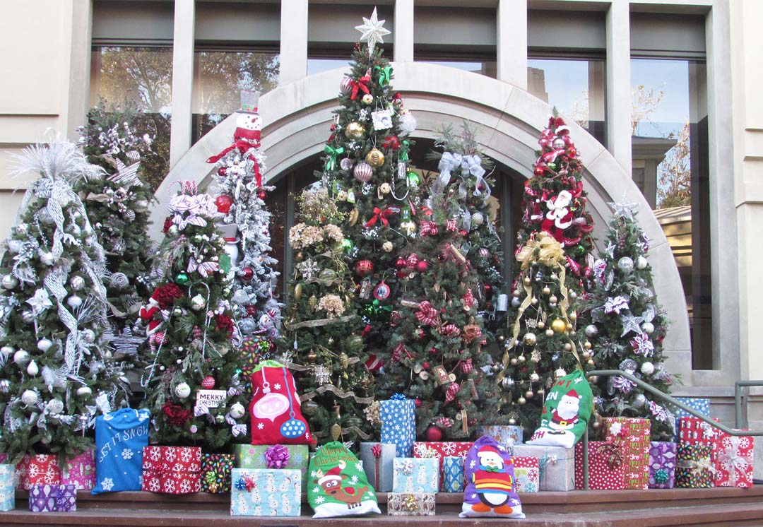 A Christmas display of decorated trees and presents is on display. Photo by Steve Puterski