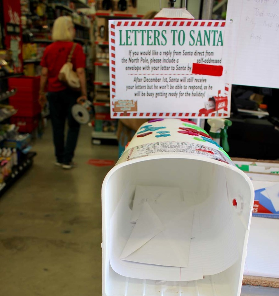 Local hardware store collects letters to Santa